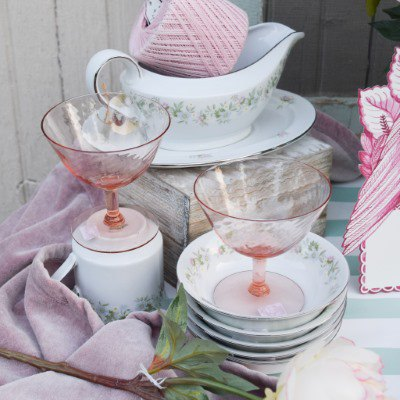 Pink Glass Dessert Cups