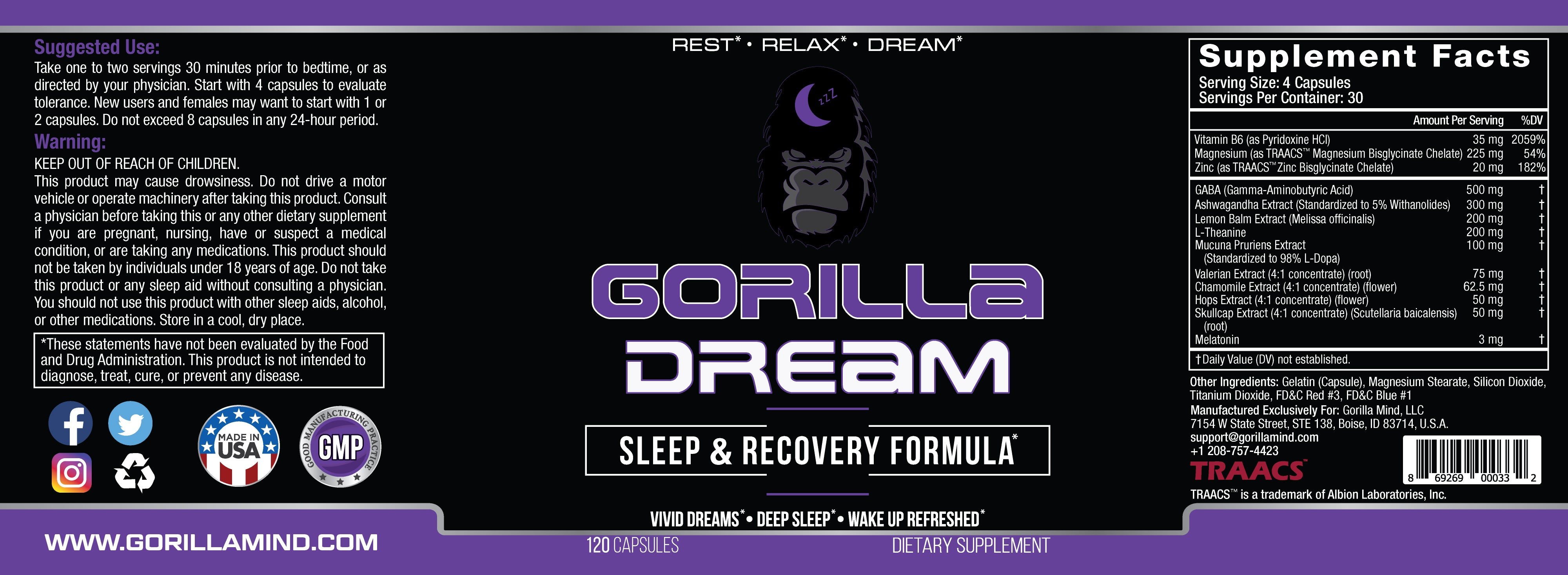 Gorilla Dream Bottle - 120 Capsules Supplement Facts