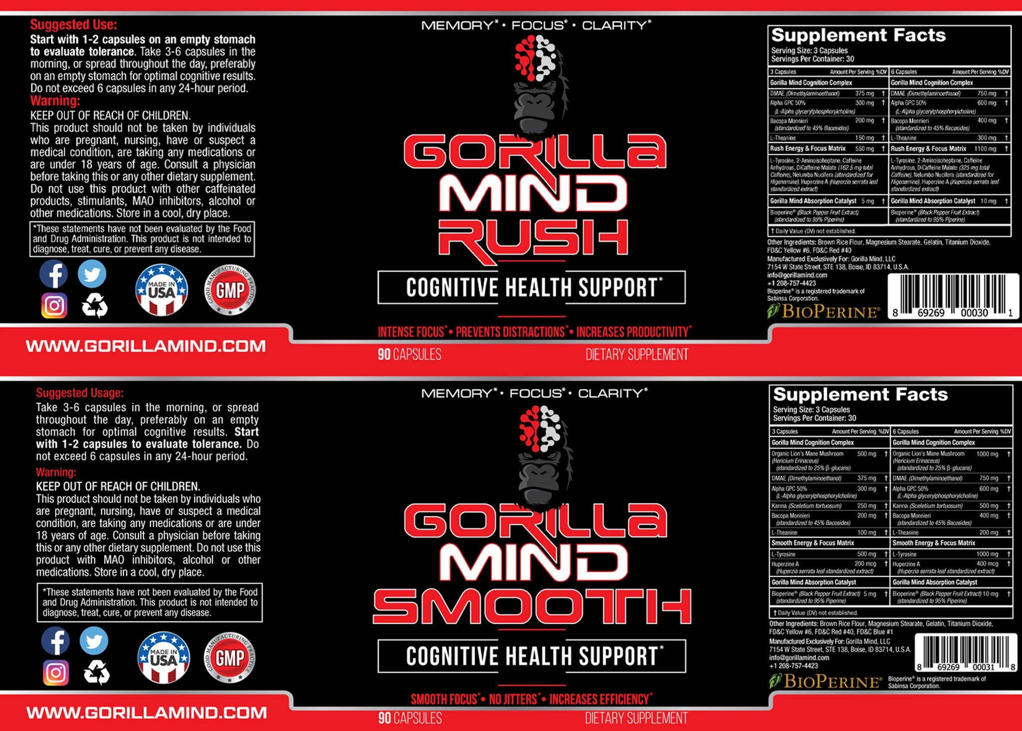 Gorilla Mind Rush + Smooth Bundle Supplement Facts