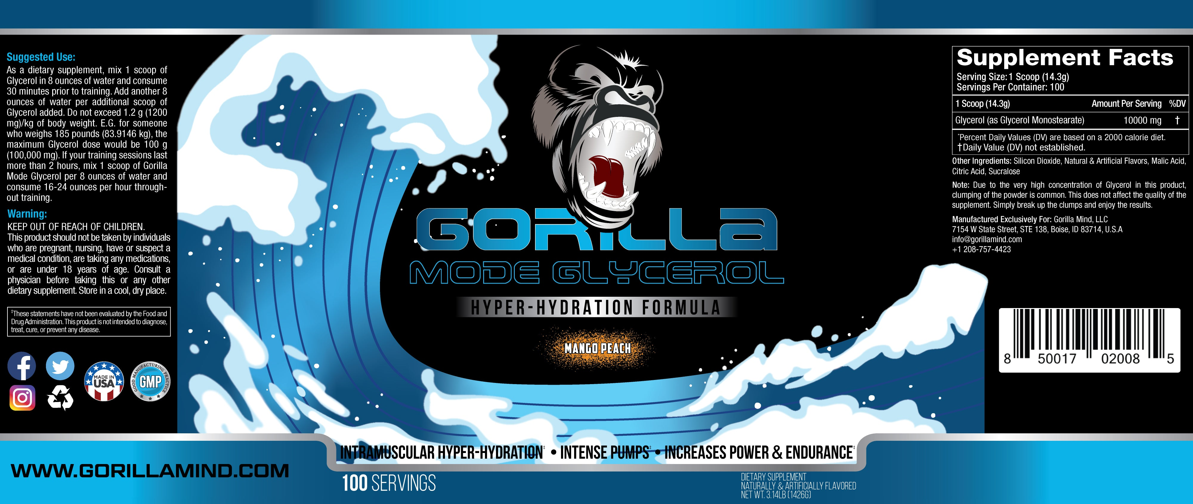 Gorilla Mode Glycerol Supplement Facts