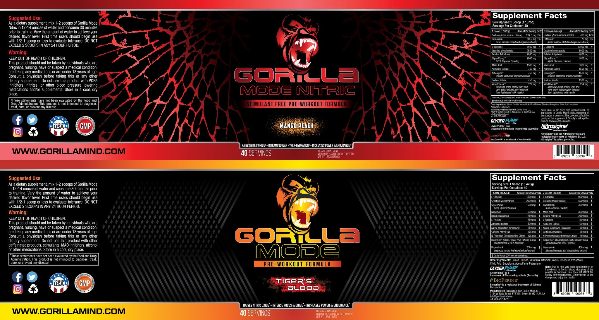 Gorilla Mode + Nitric Bundle Supplement Facts