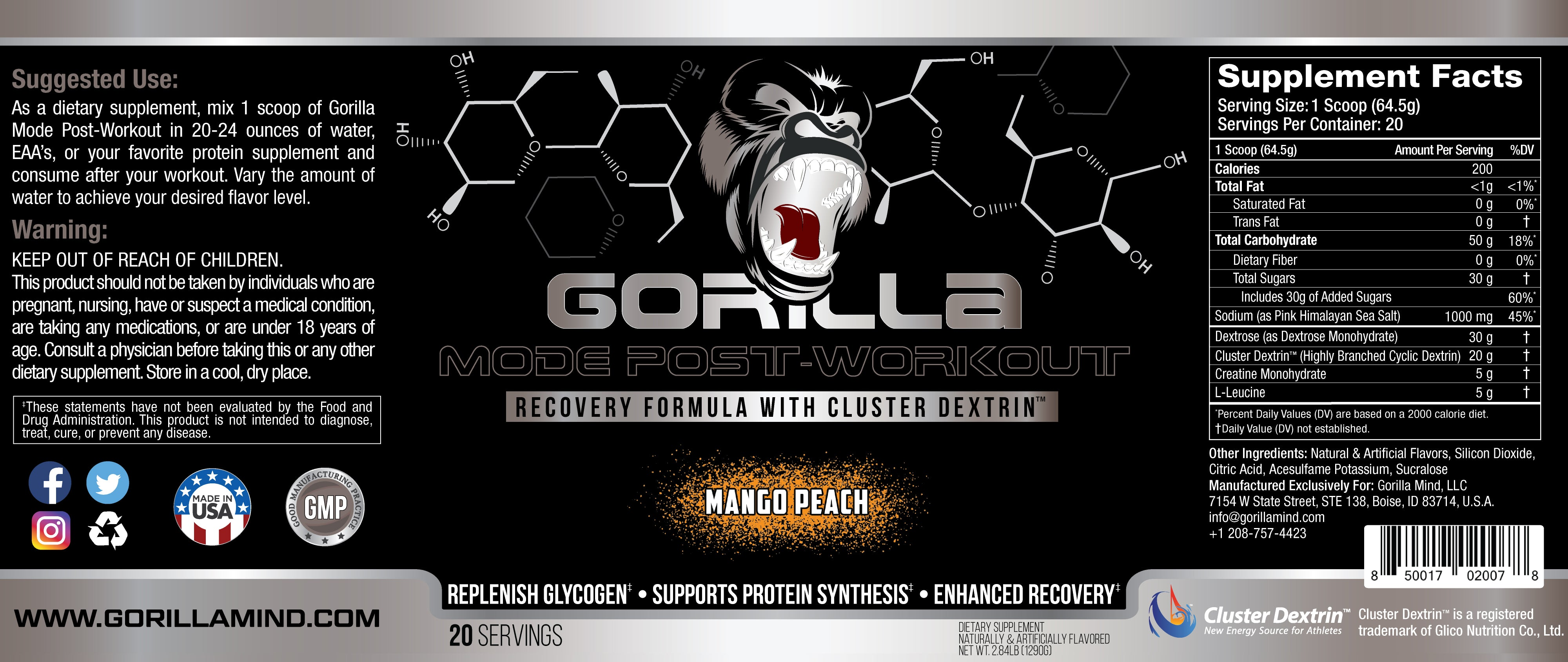 Gorilla Mode Post-Workout Supplement Facts