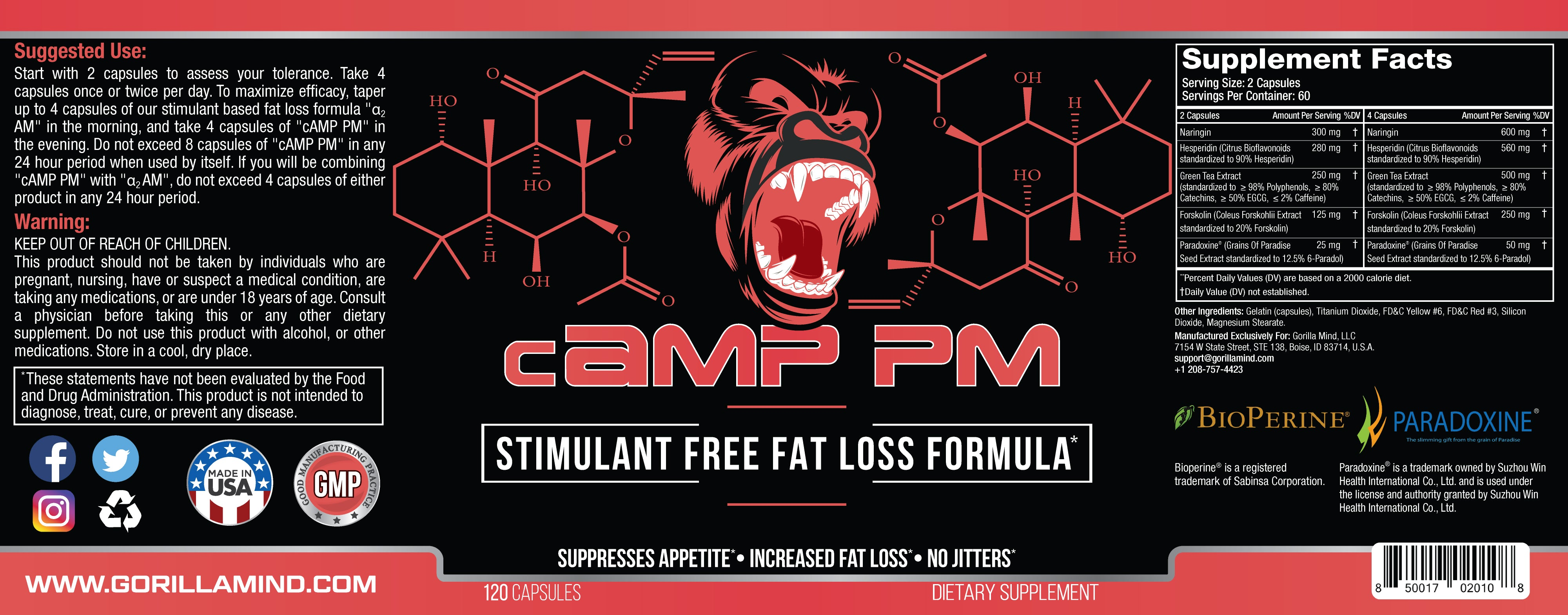 cAMP PM Supplement Facts
