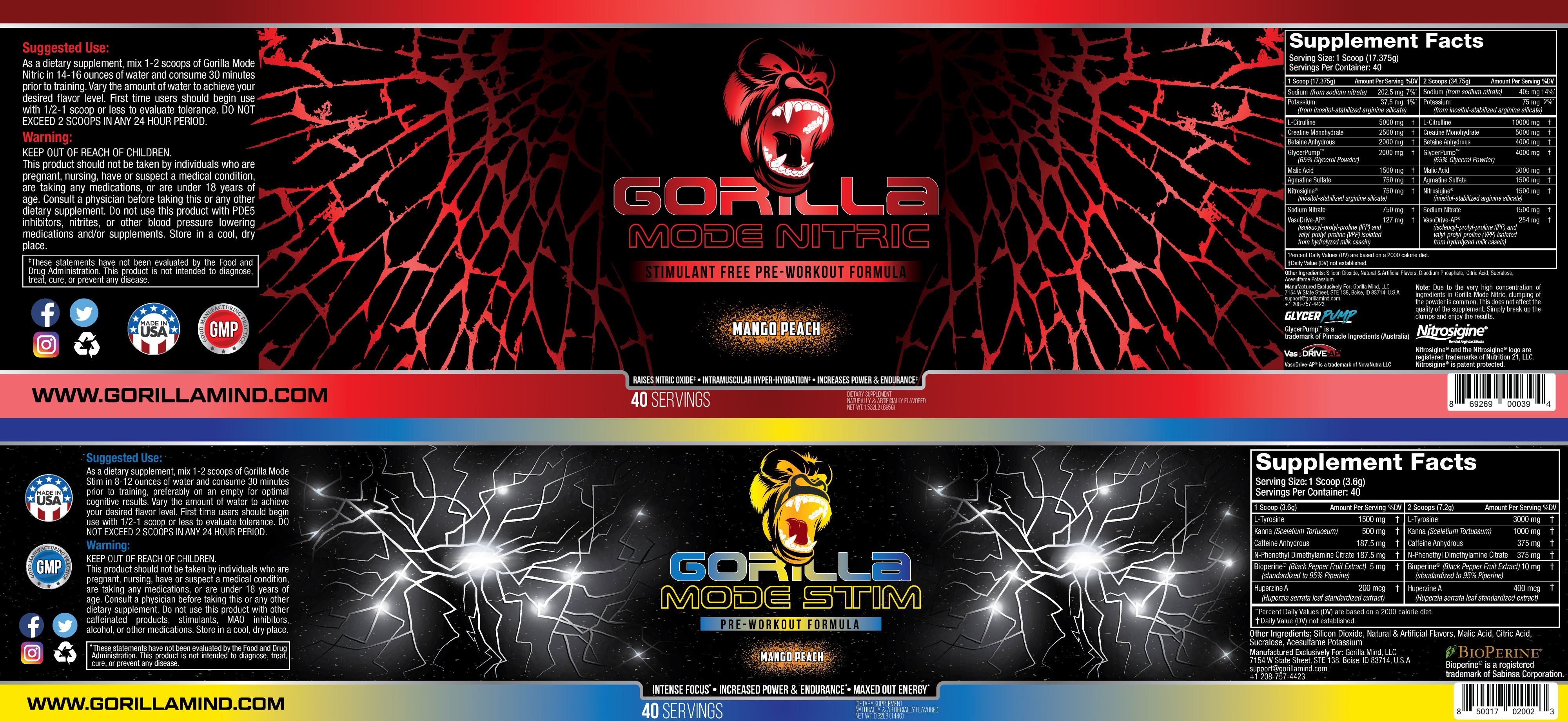 Gorilla Mode Stim + Nitric Bundle Supplement Facts