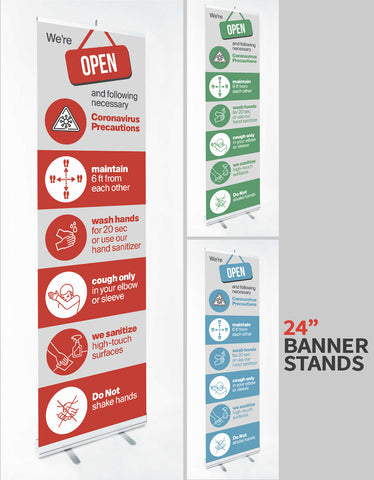 "COVID-19 SIGNAGE - 24"" x 79"" Banner Stands - available in 3 Colorways"