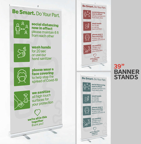 "COVID-19 SIGNAGE - 39"" x 79"" Banner Stands - available in 3 Colorways"