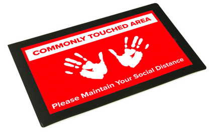 11 x 17 Counter Mat with Non-Skid Backing, Social Distance Graphic Included- Black