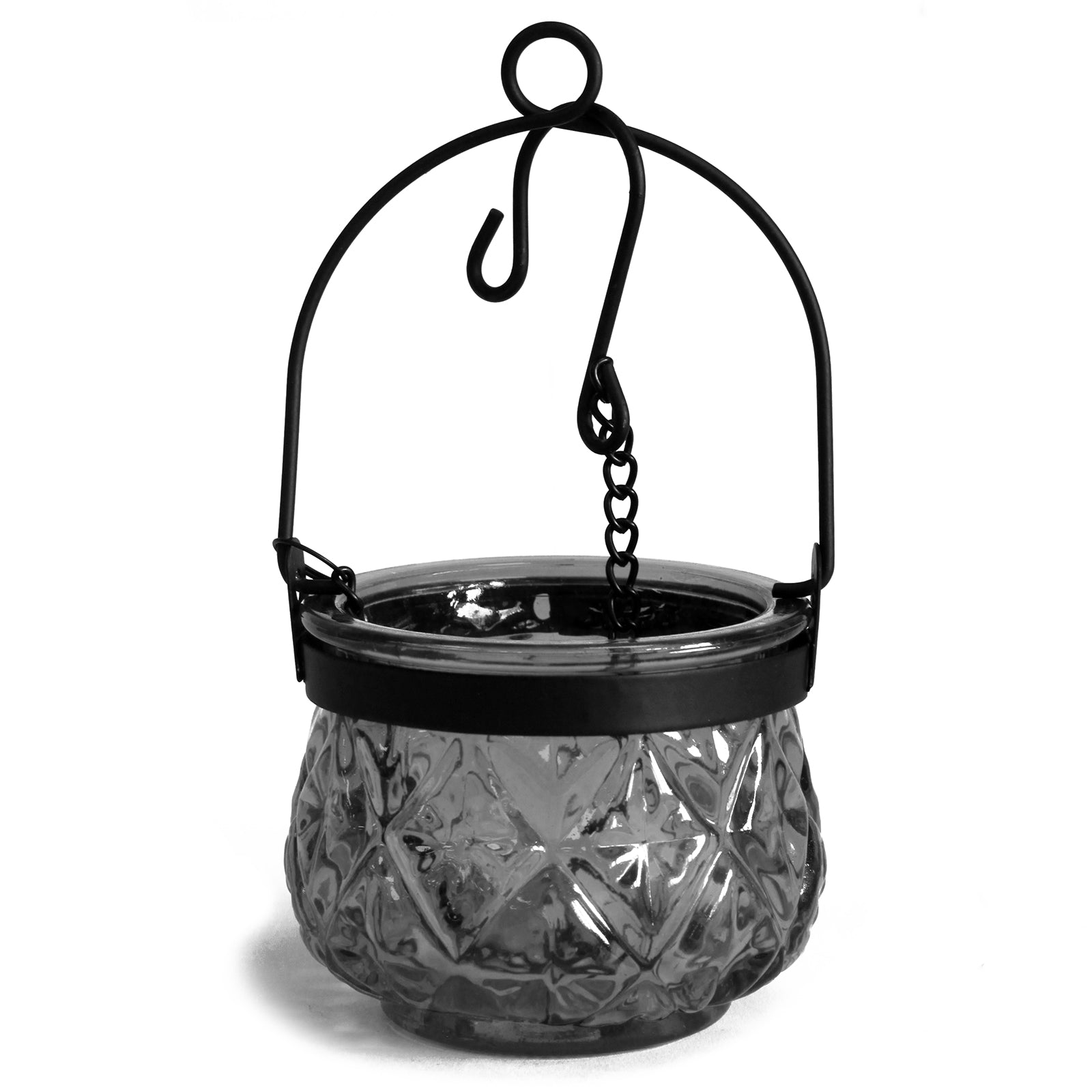 Moroccan Style Hanging Candle Lantern - Grey
