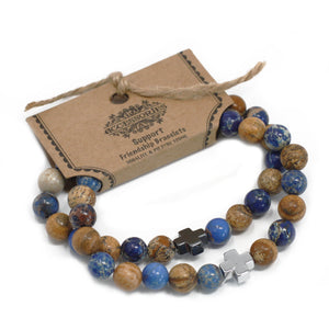 Set of 2 Gemstones Friendship Bracelets -  Support - Sodalite & Picturestone