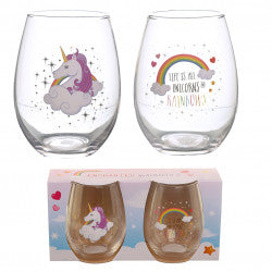 Enchanted Rainbow Unicorn Set of 2 Glass Tumblers