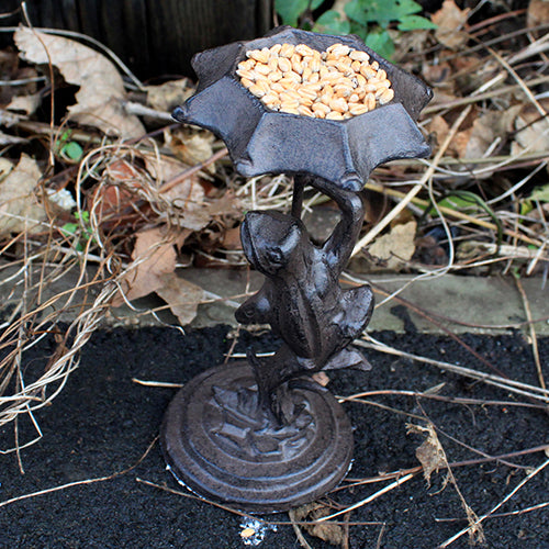 Cast Iron Bird Feeder - Frog - Natural