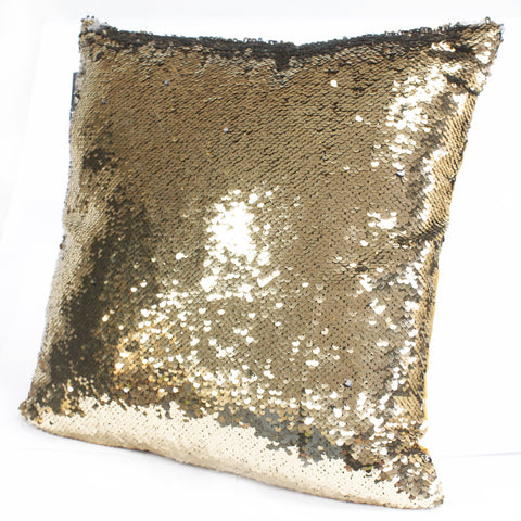 2x Mermaid Cushion Covers - Molten Gold & Quicksilver