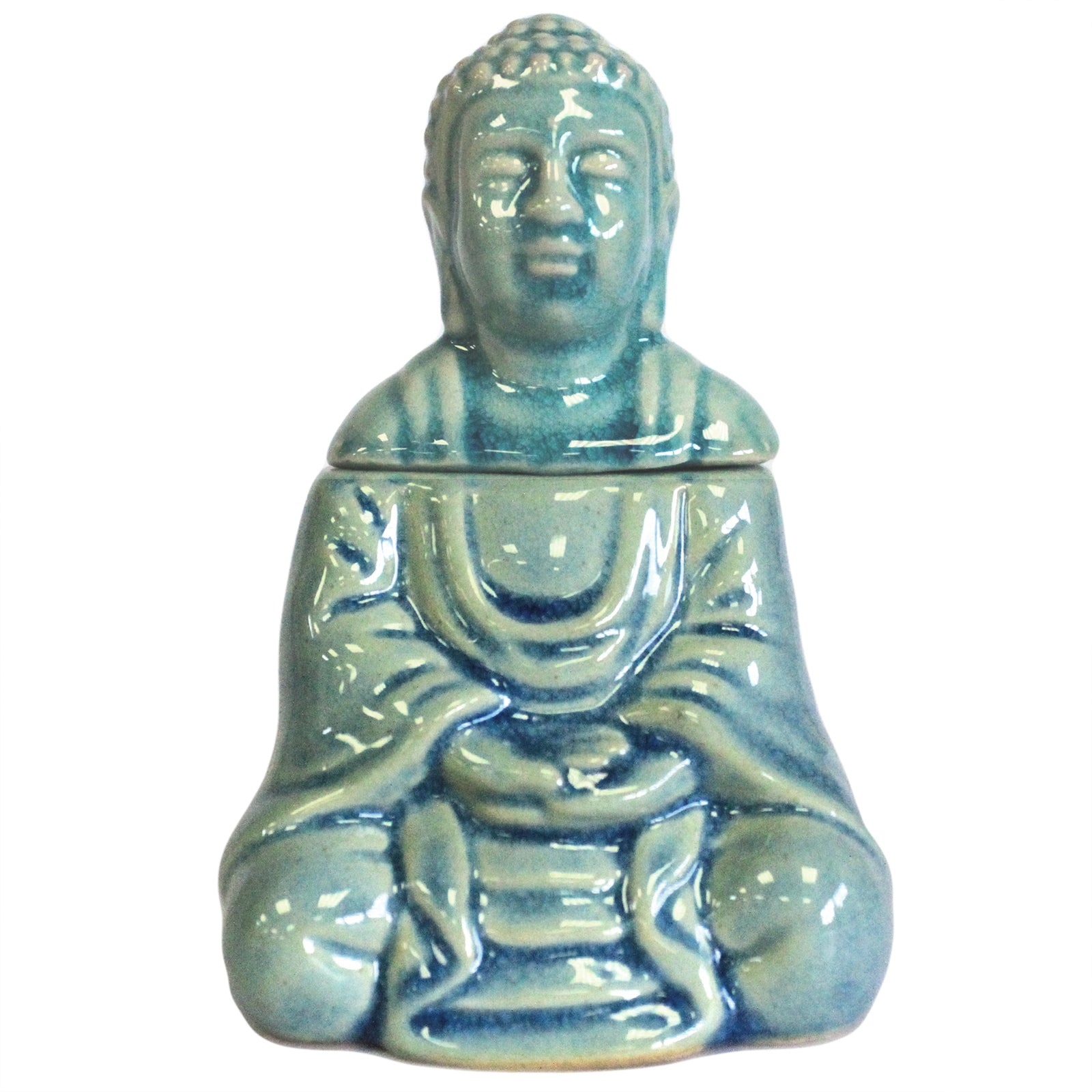 Sitting Buddha Oil Burner - Blue