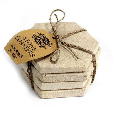 Set of 4 Stone Coasters - Hexagonal Sandstone