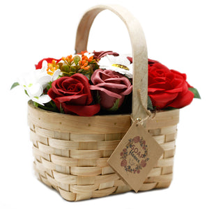 Large Red Bouquet in Wicker Basket