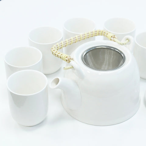 Herbal Teapot Set - Classic White