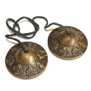 Brass Mini Tingsha - Mazira 8 Lucky Signs