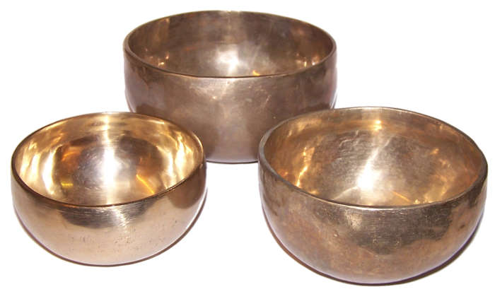 Set Of 3 Handmade Brass Singing Bowls  - Largest 125mm