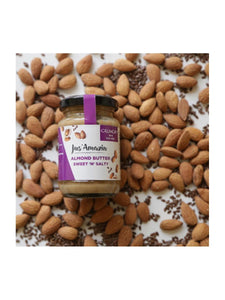 Almond Butter with crunchy Flax Seeds - High Protein, Vegan - 125 g - Jus Amazin