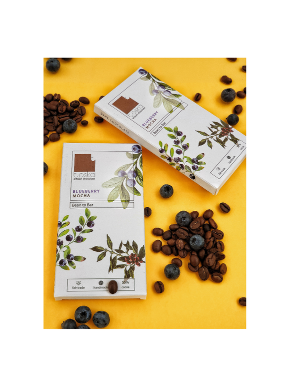 Blueberry Mocha Dark Chocolate - 70g - Toska Chocolates