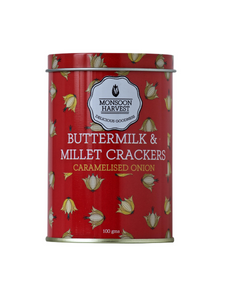 Caramelised Onion Buttermilk & Millet Crackers - 100g - Monsoon Harvest