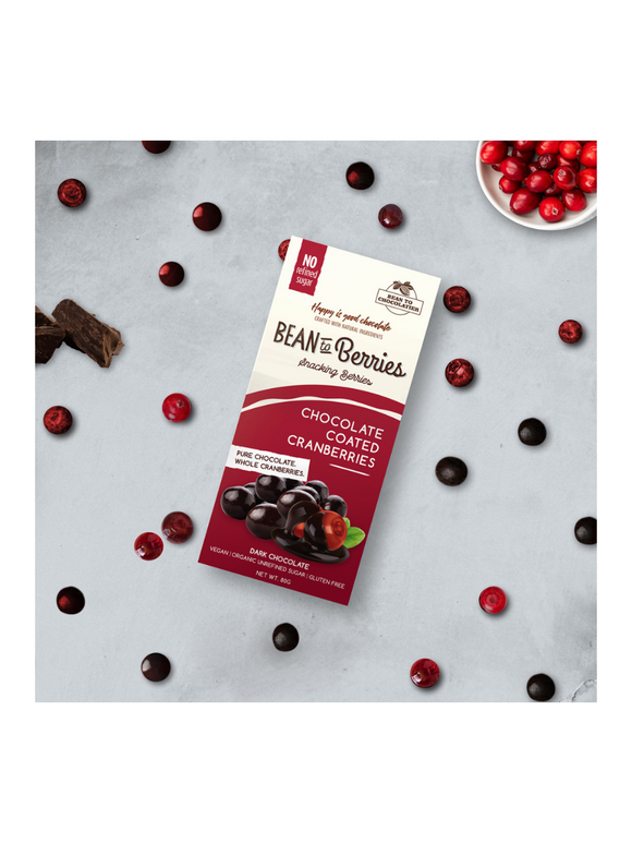 Chocolate Coated Cranberries - 80g - Bean to Chocolatier
