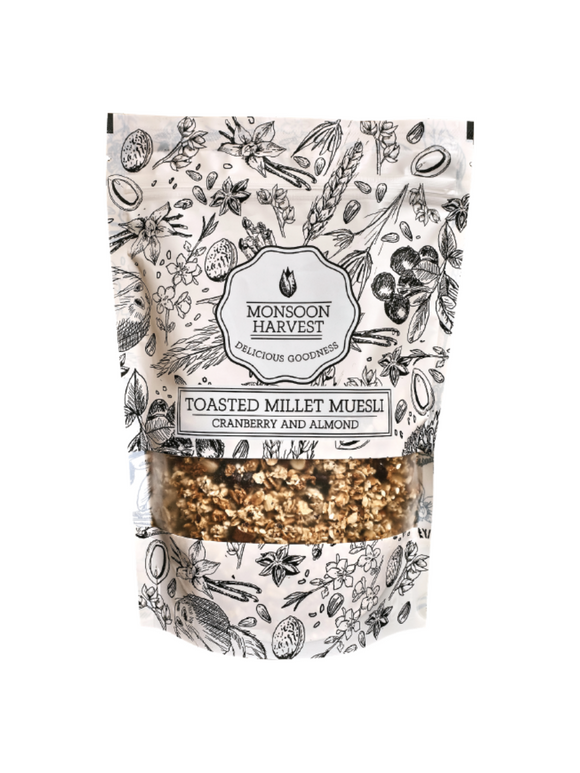 Toasted Millet Muesli Cranberry and Almond - 250g - Monsoon Harvest
