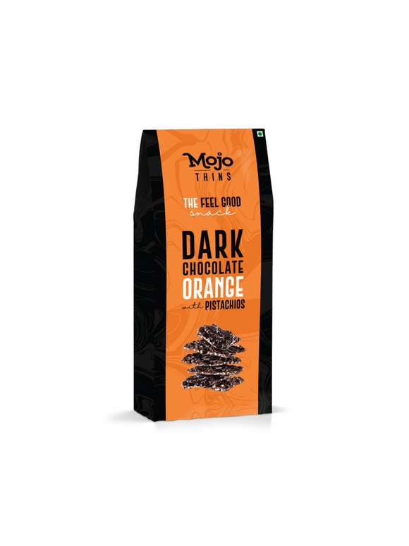Dark Chocolate Orange with Pistachios Thins - 100g - Mojo Thins