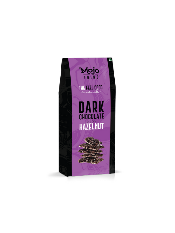 Dark Chocolate with Hazelnut Thins - 100g - Mojo Thins