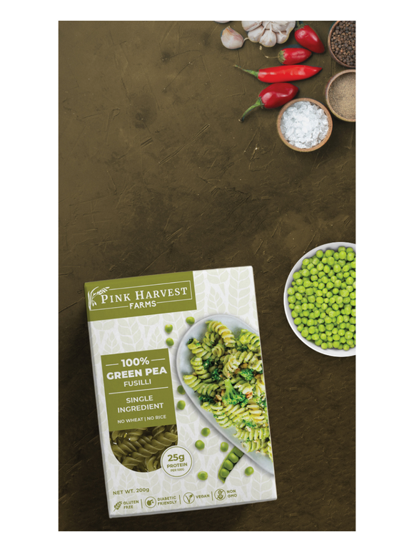 Green Pea Fusilli Pasta - 200g - Pink Harvest Farms