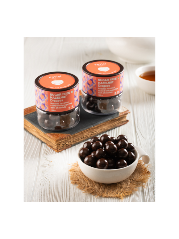 Hazelnut coated with sugarfree chocolate (jar) - 120g - Entisi Chocolates