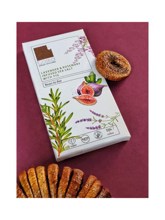 Lavender & Rosemary infused Sea Salt with Fig Dark Chocolate Bar - 70g - Toska Chocolates