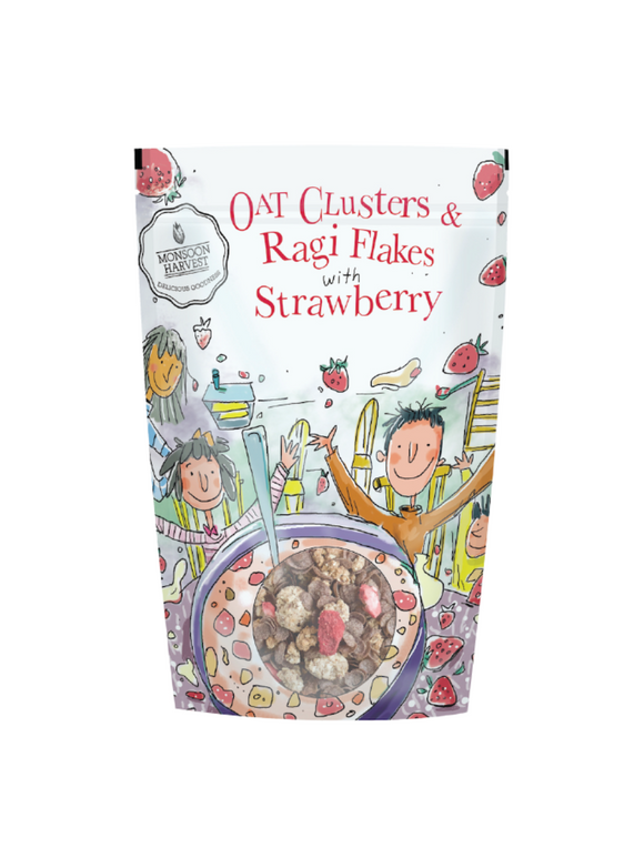 Oat Clusters & Ragi Flakes with Strawberry - 350g - Monsoon Harvest