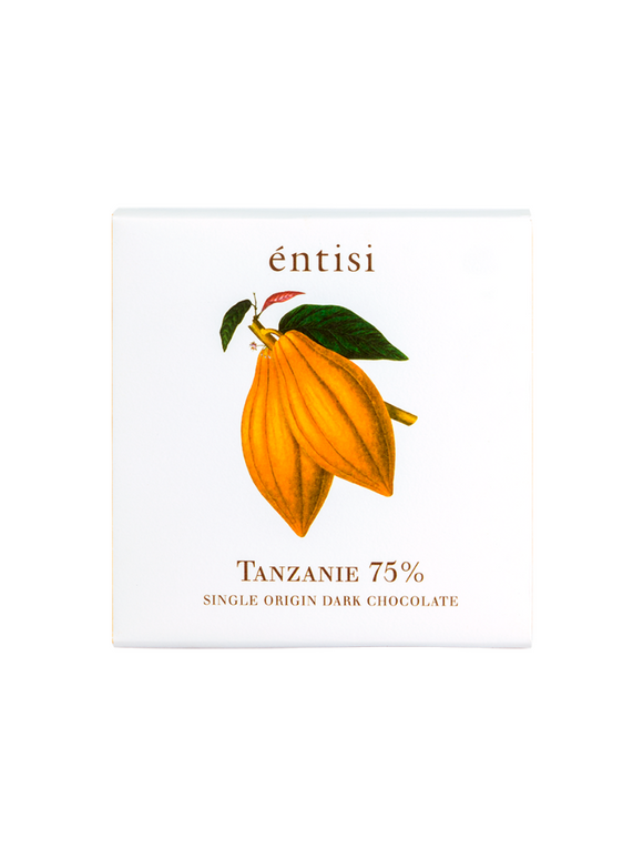 Single Origin Tanzania 75% Dark Chocolate Bar - 75g - Entisi Chocolates