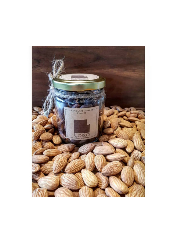 Chocolate Almond Flakes Jar - 150g - Toska Chocolates