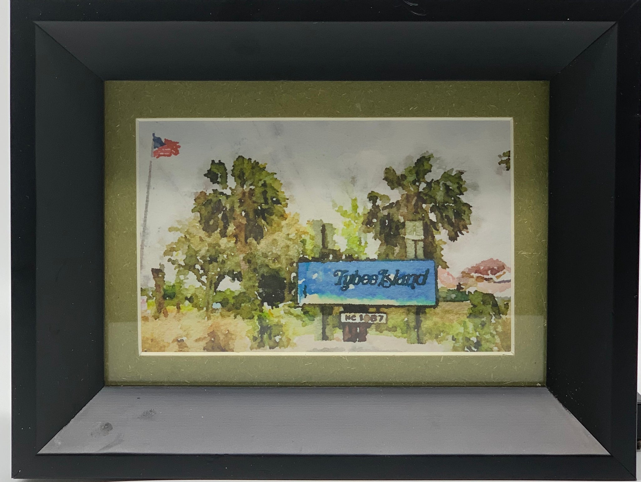 """Welcome to Tybee Island"" Mixed Media Print-Black Frame by Sarah Bernzott"