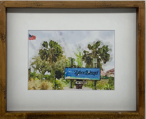 """Welcome to Tybee Island"" Mixed Media Print-Brown Frame by Sarah Bernzott"