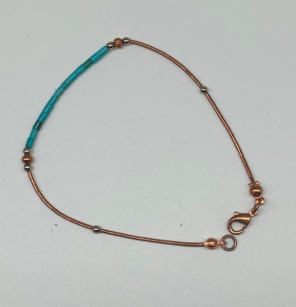 Copper Turquoise Heishi Bracelet by Sarah Bernzott