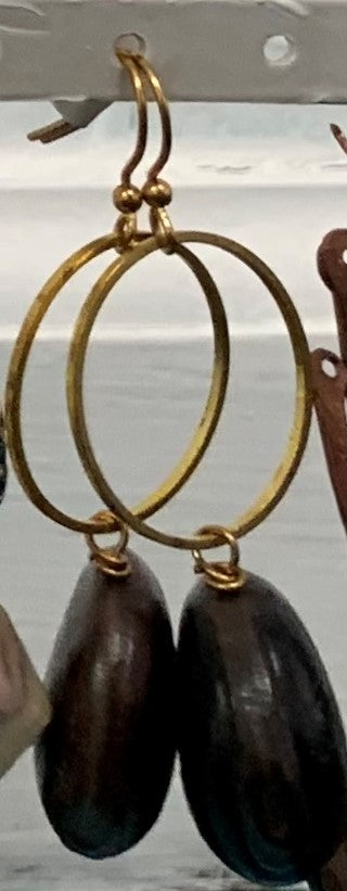 Large Gold Hoop with Nut Earrings by Sarah Bernzott