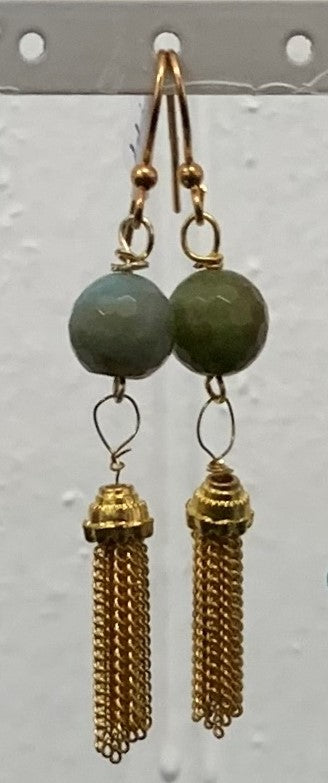 Amazonite Gold Plated Faceted Tassel Earrings by Sarah Bernzott