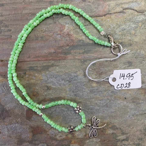 """Dragonfly Fields"" Green Glass Seed Beads Necklace by Corrine Dowd"