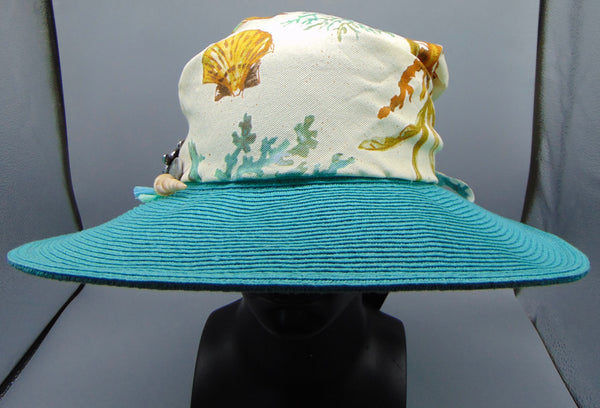 Wide-Brimmed Hat with a Coastal Print Crown by Gena Fausel