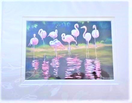 """Pretty in Pink I"" Matted Pastel Print by Rebecca Marcussen"