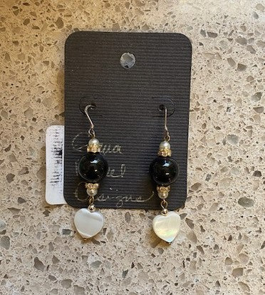 Mother of Pearl Heart Dangle Earrings by Gena Fausel