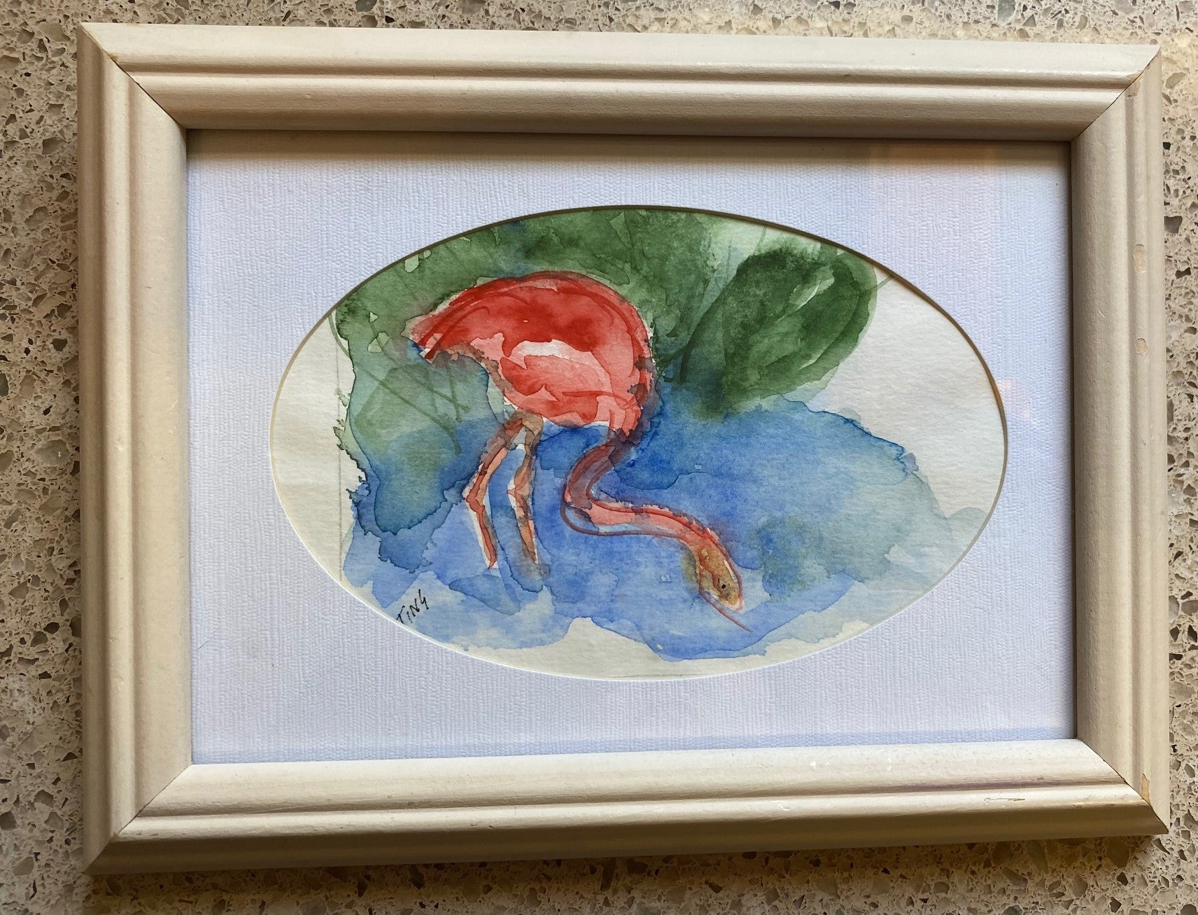 """Flamingo Searching for Food"" Original Watercolor by Ting Blessington"