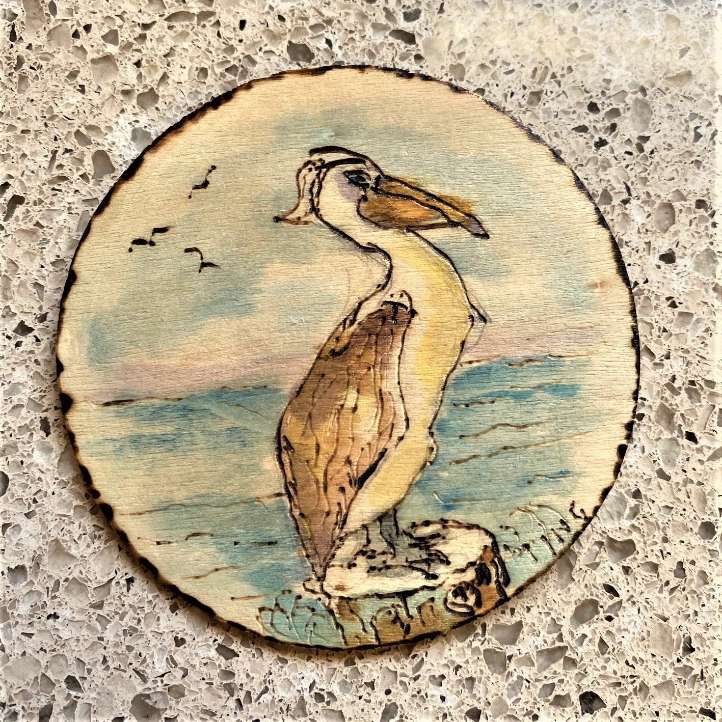 "'Irritable Pelican"" 3.25-Inch Circle Pin by Ting Blessington"