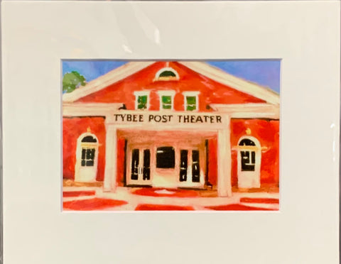 """Tybee Post Theater"" Matted Mixed Media Print by Sarah Bernzott"
