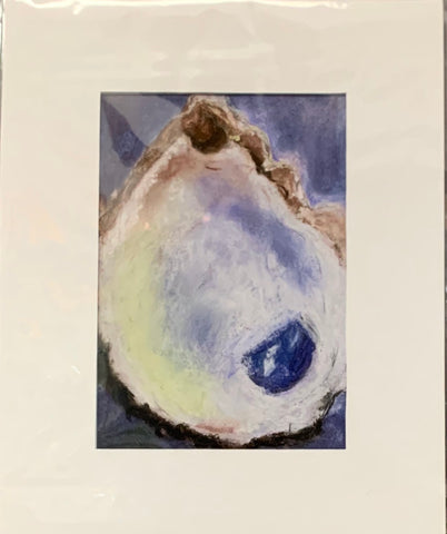"""Oyster"" Matted Mixed Media Print by Sarah Bernzott"