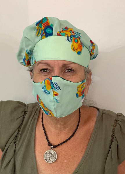Handmade Surgical Cap and Mask Set by Polly Gilstrap