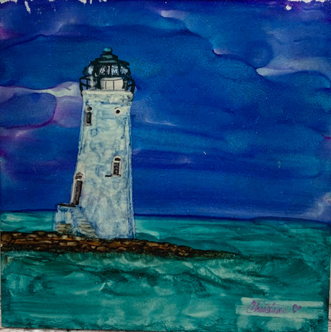 """Lighthouse"" Original Alcohol Ink on Tile by Christine Bishop"